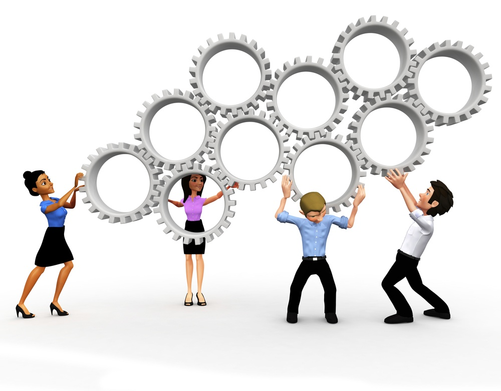 3D business team assembling mechanical gears - isolated over a white background