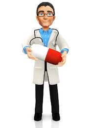 3D doctor holding a pill - isolated over a white background